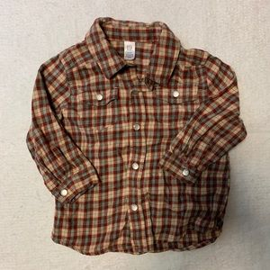 Button down pearl snap flannel shirt